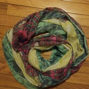 pink green paisley infinity scarf wrap light